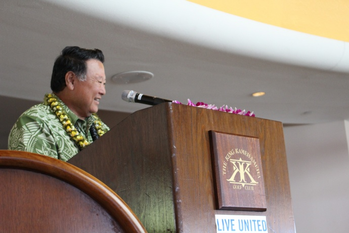Maui Mayor Alan Arakawa delivering the keynote address at the 46th Annual MUW Meeting and Recognition Luncheon. Photo by Wendy Osher. (July 2, 2015)