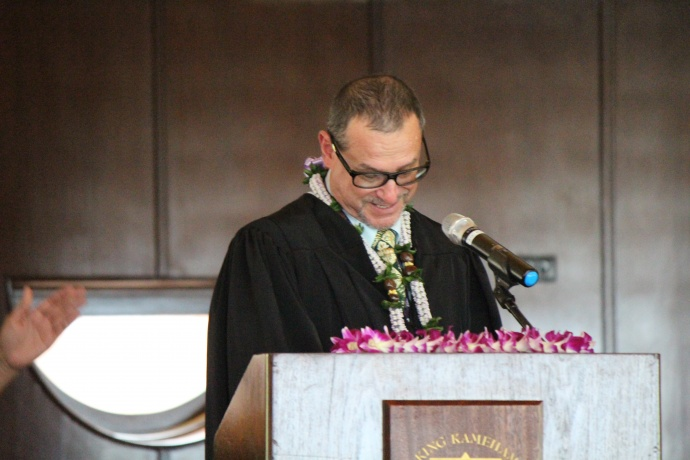 Judge Peter Cahill, Installing Officer at the 46th Annual MUW Meeting and Recognition Luncheon. Photo by Wendy Osher. (July 2, 2015)