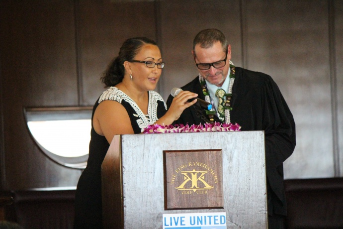 Laksmi Abraham, President and Chief Professional Officer for Maui United Way (left) with Judge Peter Cahill, Installing Officer at the 46th Annual MUW Meeting and Recognition Luncheon. Photo by Wendy Osher. (July 2, 2015)