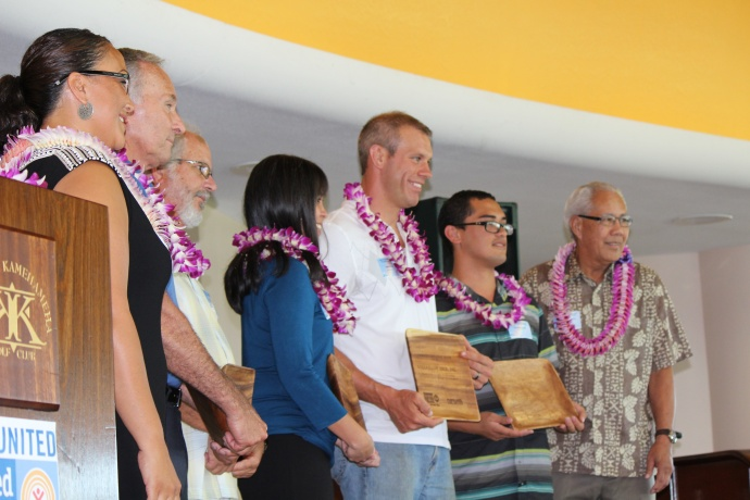 Matson Inc., Goodfellow Bros., Inc., Central Pacific Bank, Oceantic Time Warner Cable, Hawaiian Telcom, and Costco Wholesale were recognized with the Campaign Excellence Award at the 46th Annual MUW Meeting and Recognition Luncheon. Photo by Wendy Osher. (July 2, 2015)