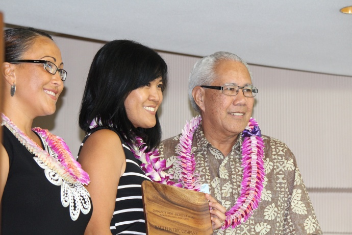 Maui Electric Company received the Community Event Excellence Award for its annual Keiki Tilapia Fishing Tournament at the 46th Annual MUW Meeting and Recognition Luncheon. Photo by Wendy Osher. (July 2, 2015)