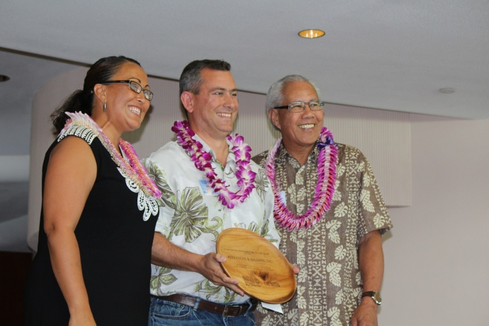 Alexander & Baldwin Inc. was awarded teh Corporate Contributor of the Year award at the 46th Annual MUW Meeting and Recognition Luncheon. Rick Volner of HC&S accepted the award on behalf of the company and also presented a $100,000 check to Maui United Way at the event. Photo by Wendy Osher. (July 2, 2015)