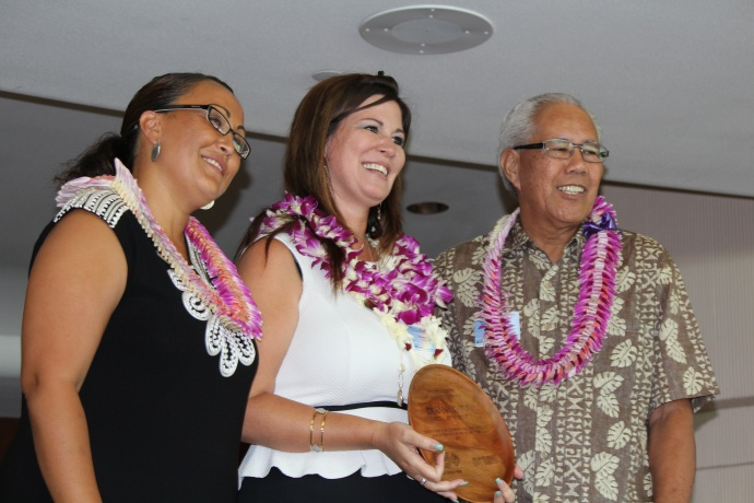 Deanna Davis, recipient of the Norman Ahakuelo award, Co-Volunteer of the Year Award, and Outgoing Board Member award for her six years of outstanding impact on the organization. The awards were issued at the 46th Annual MUW Meeting and Recognition Luncheon. Photo by Wendy Osher. (July 2, 2015)