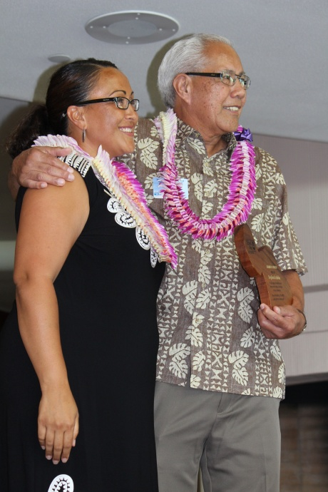 Stephen Kealoha (right), recipient of the Kahaloa Award with Laksmi Abraham (left) , President and Chief Professional Officer for Maui United Way. Photo by Wendy Osher. (July 2, 2015)