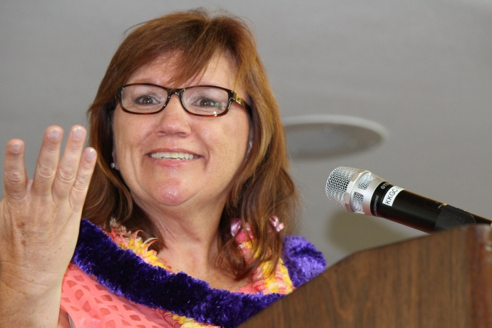 Carol Gentz of the Hawaiian Island Land Trust is the new Chair of the Board for Maui United Way. She was inducted into the post as part of the 46th Annual MUW Meeting and Recognition Luncheon. Photo by Wendy Osher. (July 2, 2015)