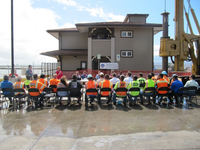 A groundbreaking/blessing for the Māʻalaea SBH Ferry Pier Replacement project was held on July 7, 2015, 10 a.m. at the harbor office on Maui. DLNR photo.