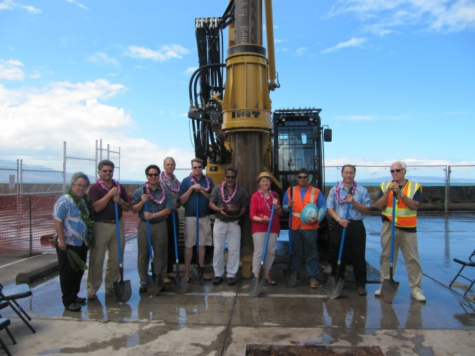 left to right: Rev. Kealahou Alika; Bill Caldwell, President, Expeditions; Carty Chang, Chief Engineer; Gerry Majkut, President HDCC; Representative McKelvey; Paul Sensano, Maui District Manager; Senator Baker; HDCC equipment operator; Cedric Ota, Vice-president, HDCC; Curtis Powers, Maui Engineer. DLNR photo