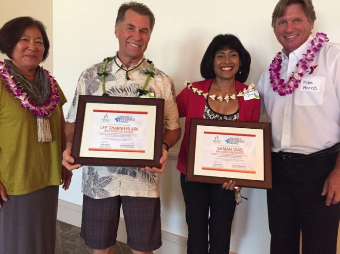 (Left to right) Sandy McGuinness, Lee Chambelain, Saman Dias and Mike Morris pause following the presentation of the Nutrition & Physical Activity Coalition of Maui County's Making a Difference Award.