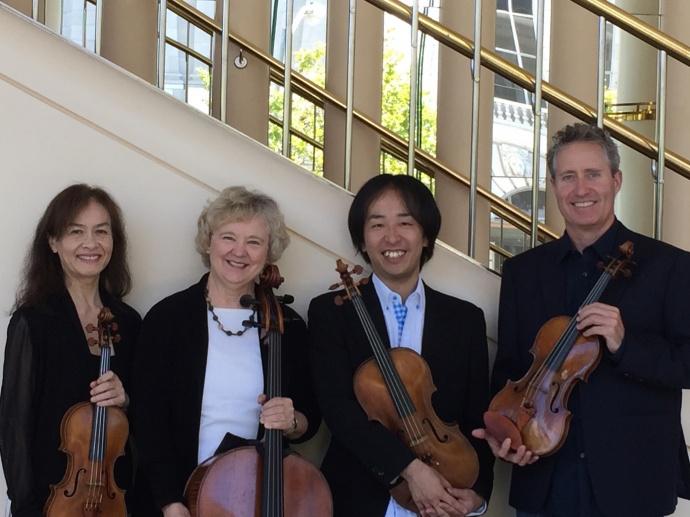 Ebb & Flow Arts presents (left to right) Mariko Smiley on violin, Margaret Tait on cello, Shinya Abe on viola nad Sarn Oliver on violin. Courtesy photo.