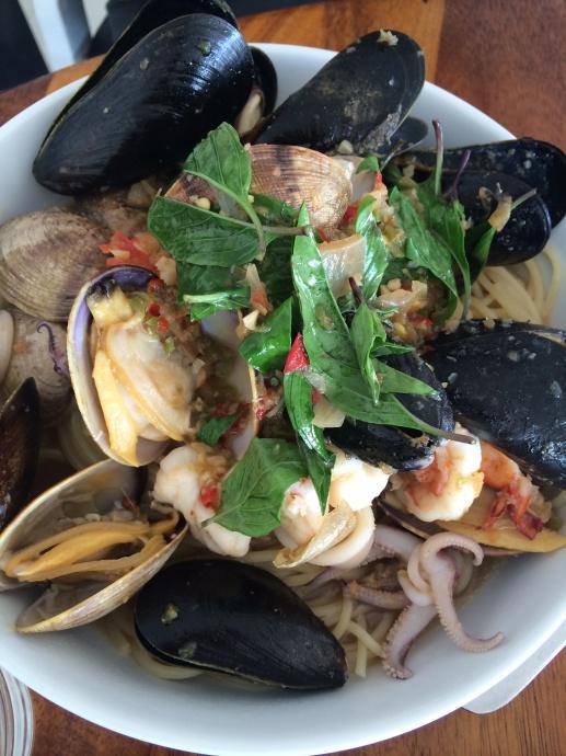 Wok Fried Spicy Thai Basil and Seafood Spaghetti. Courtesy photo.