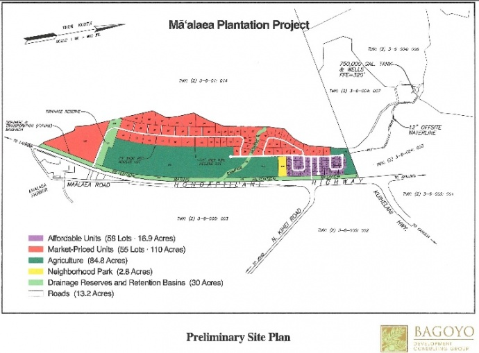 Māʻalaea Plantation Subdivsion site plan. Image courtesy Draft EA prepared by Bagoyo Development Consulting Group.