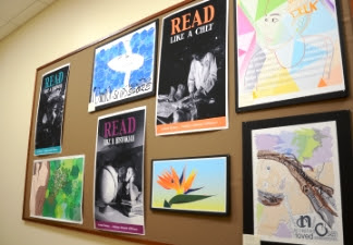 Currently, the dedicated student wall is home to beautiful, bright graphics from the Lahainaluna High School. Photo credit: Maui Memorial Medical Center Foundation.