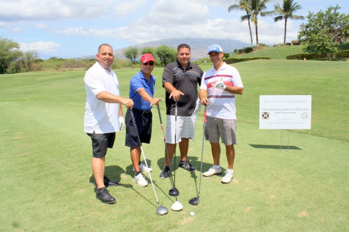MHLA's 19th Annual Excellence in Education Golf Tournament's winning team (19th Place) (from left): Honua Kai Resort & Spa/HI Care & Cleaning Inc.—Steve Aheong, Carlo Antiado, Jeramiah KamaunuandClaudio Andrade. Courtesy photo.