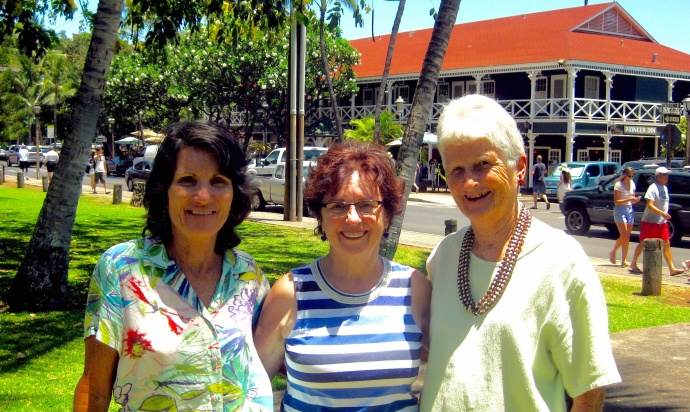 Courtesy photo: (L to R) Theo Morrison, Lois Reiswig and Janet Allen are presidents of West Maui Cultural Council that created the popular Maui Plein Air Paining Invitational event. The council changed its name to Maui ARTS League and announced their new project to build a visual fine arts museum in Lahaina.