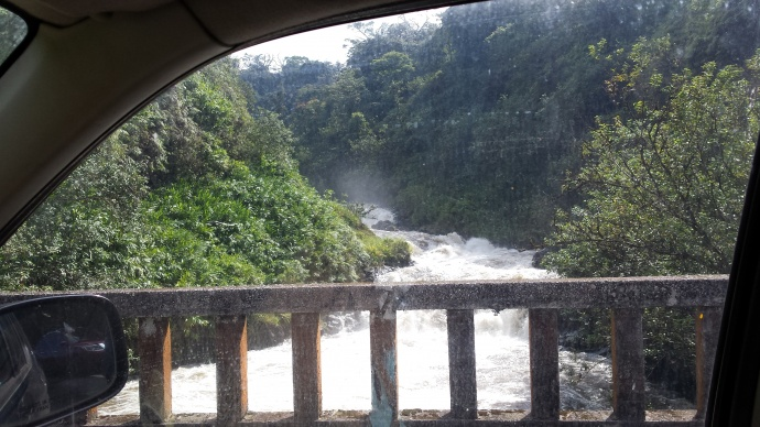 This image shows just how full some of the streams were from the recent rains. They were taken at around 4 p.m. on Tuesday, Aug. 25, 2015, near Mile 20 of the Hāna Highway. Image credit: Jackie Frost. Aug. 26, 2015.