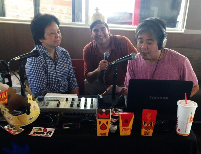 Burger King District manager Mary Fong takes time out for an interview with DJs Trance and Mackie