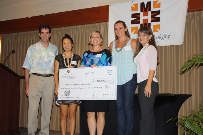 Visitor Industry Charity Walk nonprofit agencies recognized (left to right): Declan McCarthy, 2015 Charity Walk chairman; Denise Thayer, Hale Makua; Lisa Paulson, Maui Hotel & Lodging Association; Genevieve Ruvald, Westside Hoops; and Lisa Varde of Maui Memorial Medical Center Foundation.