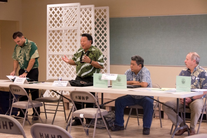 Mayor Alan Arakawa makes opening remakes at a Community Budget meeting last year. Also pictured, L-R: Budget Director Sandy Baz, Deputy Managing Director David Ching, and Deputy Finance Director Mark Walker. CREDIT: County of Maui / Ryan Piros.