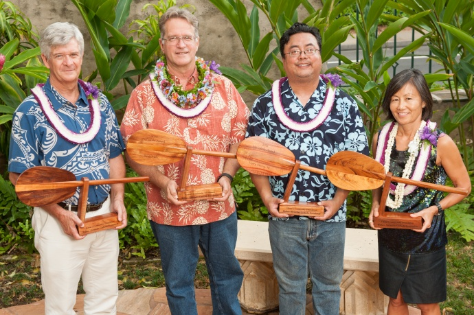 (L to R): Richard Taaffe, President and CEO West Hawai'i Community Health Center, Kepa Maly, Executive Director of Lāna'i Culture and Heritage Center, Harry Wong III, Artistic Director at Kumu Kahua Theater, Marian Tsuji, President and CEO, Lanakila Pacific.