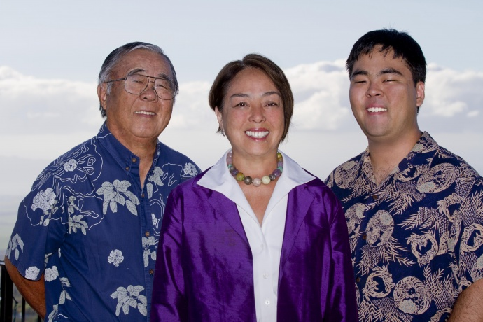 "Yuki Lei Sugimura, husband Takashi ""Tak"" Sugimura and son, Michael."
