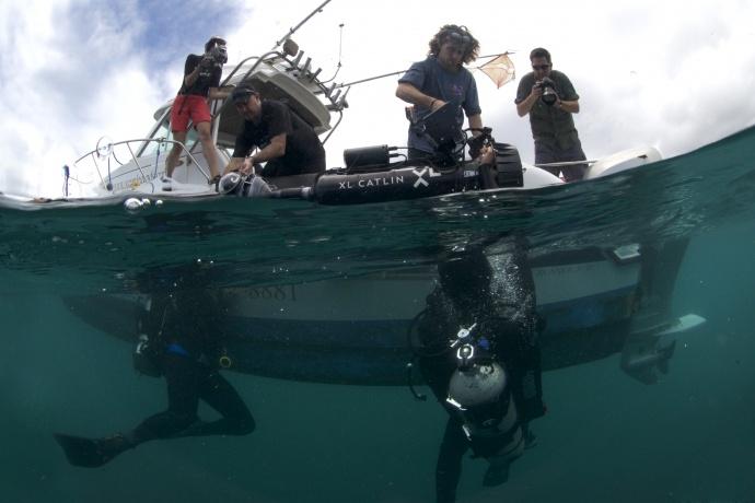Launching the XL Catlin Seaview Survey camera. Photo credit: XL Catlin Seaview Survey