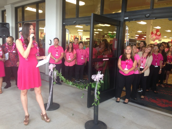 Maui Now Meteorologist Malika Dudley served as emcee for the opening of Maui's first T.J. Maxx
