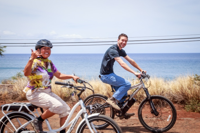 with Councilmember Elle Cochran. Photo courtesy Maui Bicycling League.