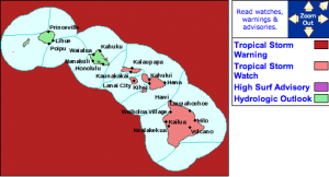 Tropical Storm Watch issued for Maui County / Big Island. Image courtesy NWS/NOAA.