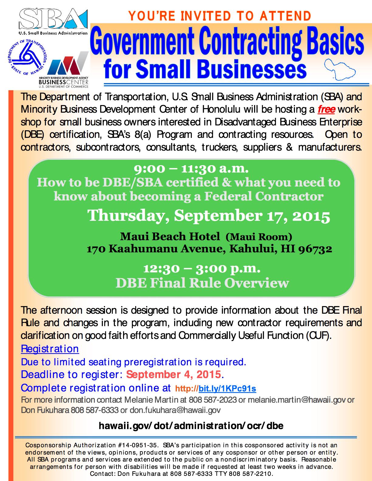 Maui Now Disadvantaged Business Enterprise Certification