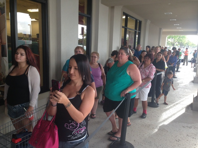 Shoppers lined up early for the opening of Maui's first T.J. Maxx