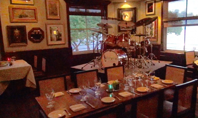 Drum set at Fleetwood's on Front Street. Photo by Kiaora Bohlool.