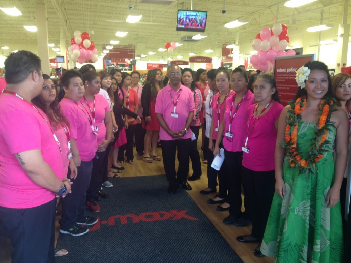 T.J. Maxx staff await the arrival of thier first shoppers on Maui