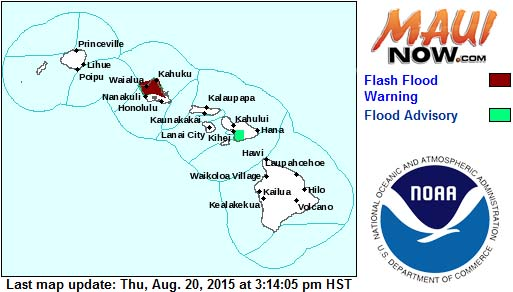 Flood Watch issued at 3 p.m. for Maui. 8/20/2015. Image credit: NOAA/NWS.
