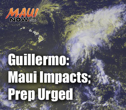 Guillermo Maui Now graphic. Background image credit: NOAA/NWS.