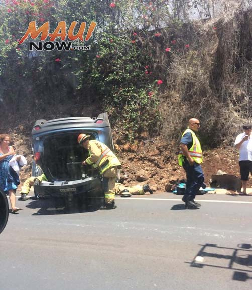 Kāʻanapali traffic accident 8/27/15. Photo credit: James Freeborne Welch