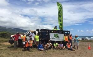 Mālama Maui Nui staff and volunteers pose at the end of the second beach cleanup at Rivermouth in Wailuku, Maui. Photo courtesy of Mālama Maui Nui.