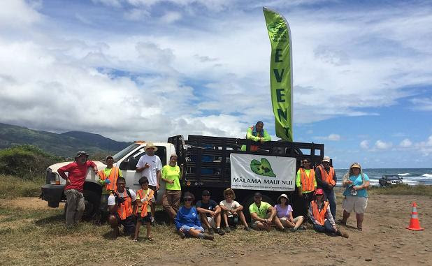 Mālama Maui Nui staff and volunteers pose at the end of the second beach cleanup at Rivermouth in Wailuku, Maui. Photo courtesy of Mālama Maui Nui.