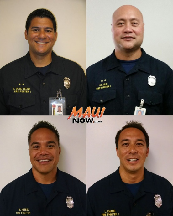 MFD Promotions: (top left) Edmund Wong Leong; (top right) Kawika Alo; (bottom left) Shawn Kiesel; and (bottom right) Laʻakea Chang.