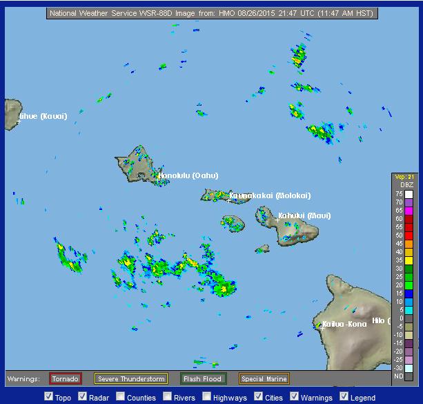 Radar over Molokaʻi. Image credit: NOAA/NWS.