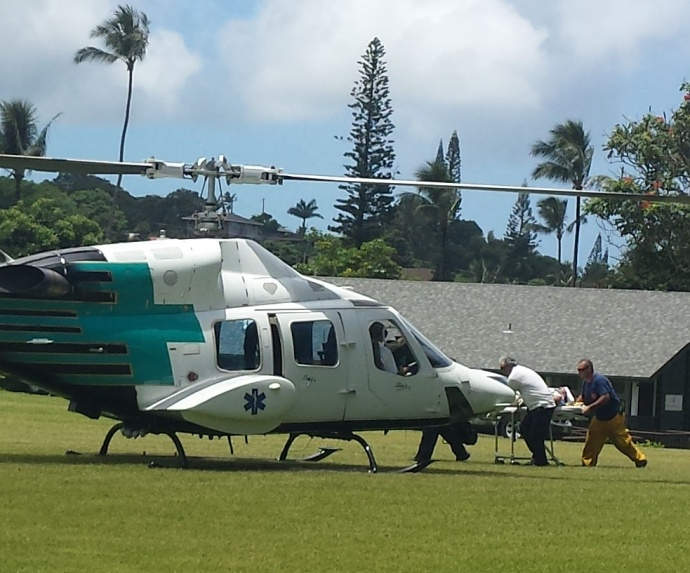 Medical transport. Hāna, Maui.