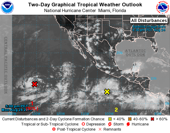 Disturbances being tracked in the Eastern Pacific by the National Hurricane Center. Image credit: NOAA/NWS/NHC
