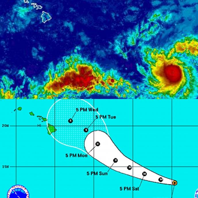Image: NWS / NHC satellite and track - Hilda 5 p.m. August 7
