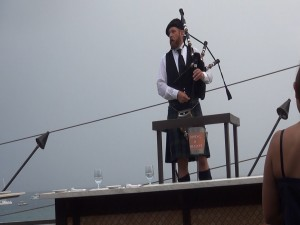 Bagpipe music in the rain on Fleetwood's rooftop patio. Photo by Kiaora Bohlool.