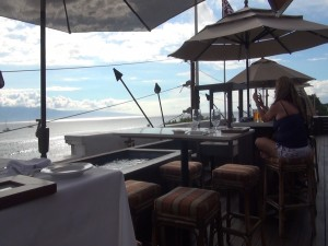 Rooftop lanai overlooking the ocean at Fleetwood's on Front Street. Photo by Kiaora Bohlool.