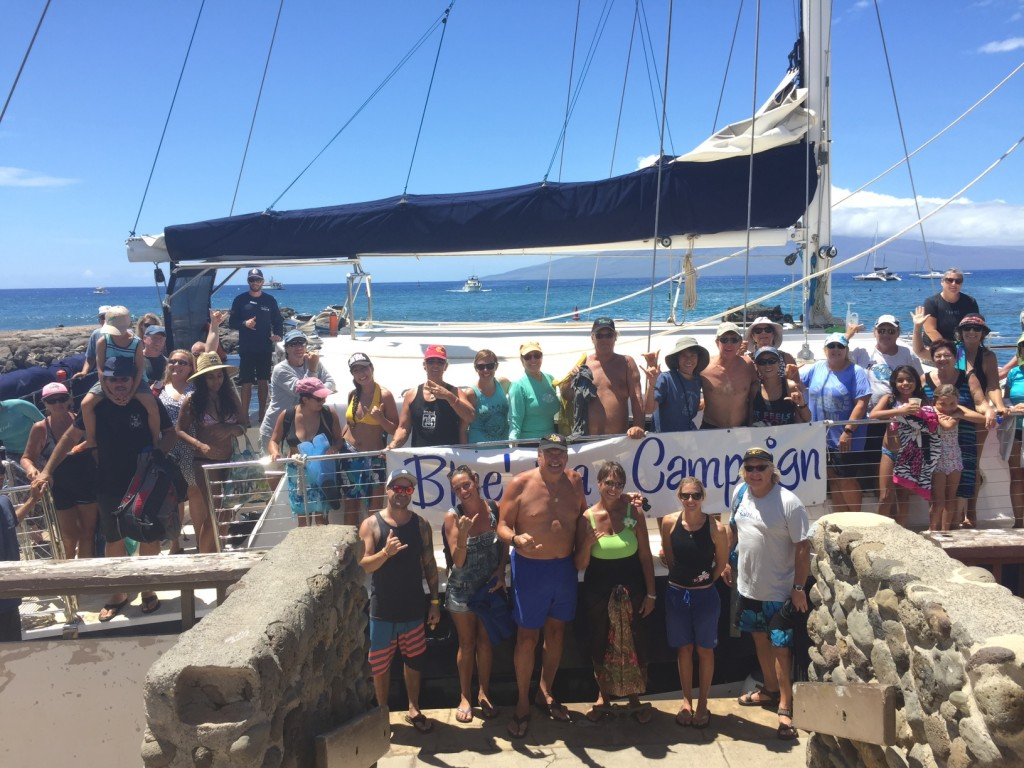 Trilogy's Blue'Aina Campaign hosted a reef clean up at Mala Wharf on Sunday, September 20th, with 60 volunteers. Photo credit: Trilogy Excursions.