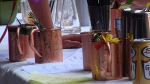 Copper mugs at Moscow Mule Maui Style. Photo by Kiaora Bohlool.