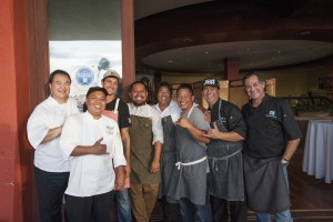 A group of Maui's premier local chefs, including celebrity chef Sheldon Simeon, at the launch of Hawai'i Seafood Month at MiGRANT Maui. Photo by Mieko Horikoshi.