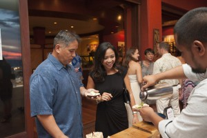 Guests enjoy food at the launch of Hawai'i Seafood Month at MiGRANT Maui. Photo by Mieko Horikoshi.