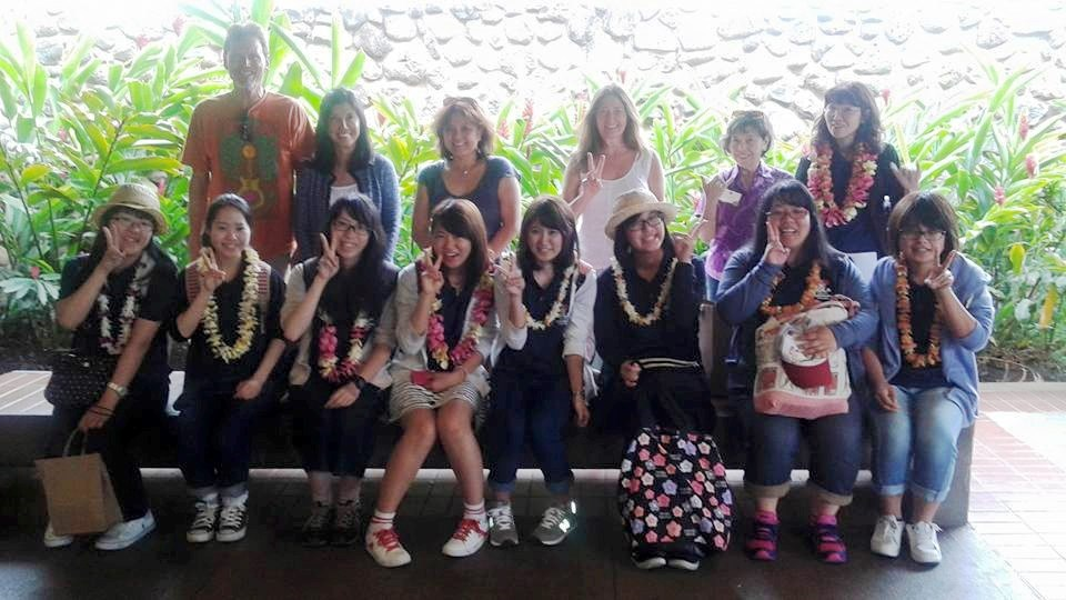 Students from Fukuyama University are greeted by their Maui host families Sunday at Kahului Airport. Photo courtesy Stephanie Ohigashi.