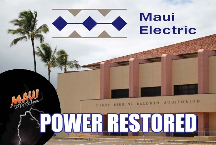 Power restored after lightning strike on Kaʻahumanu Avenue. Graphic by Wendy Osher/Maui Now.